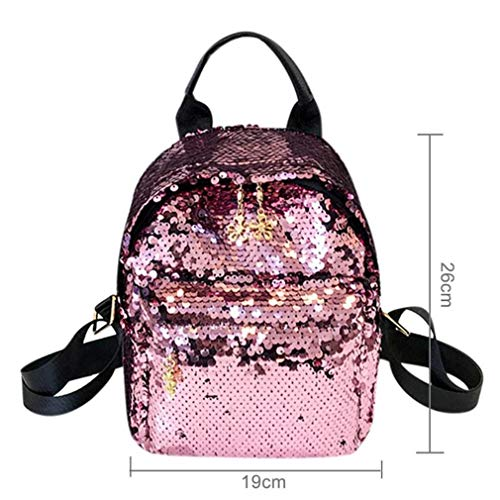 Girls Schoolbag Backpack Teenage Leather Women Travel PU Student Casual Pink Shoulder Sequins Fashion waPqXFfw