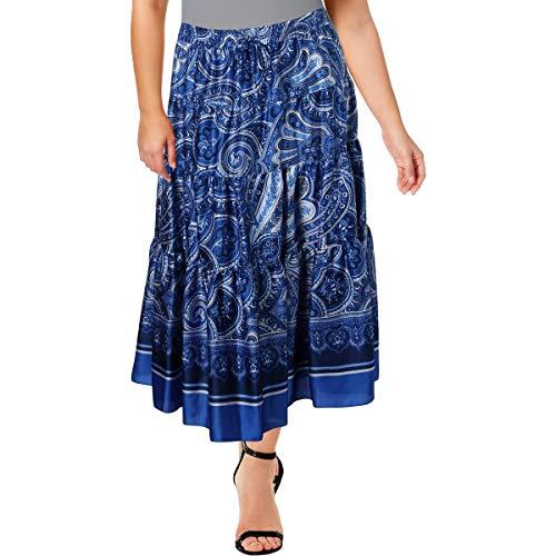 (LAUREN RALPH LAUREN Womens Plus Paisley Mid-Calf Maxi Skirt Blue 3X)