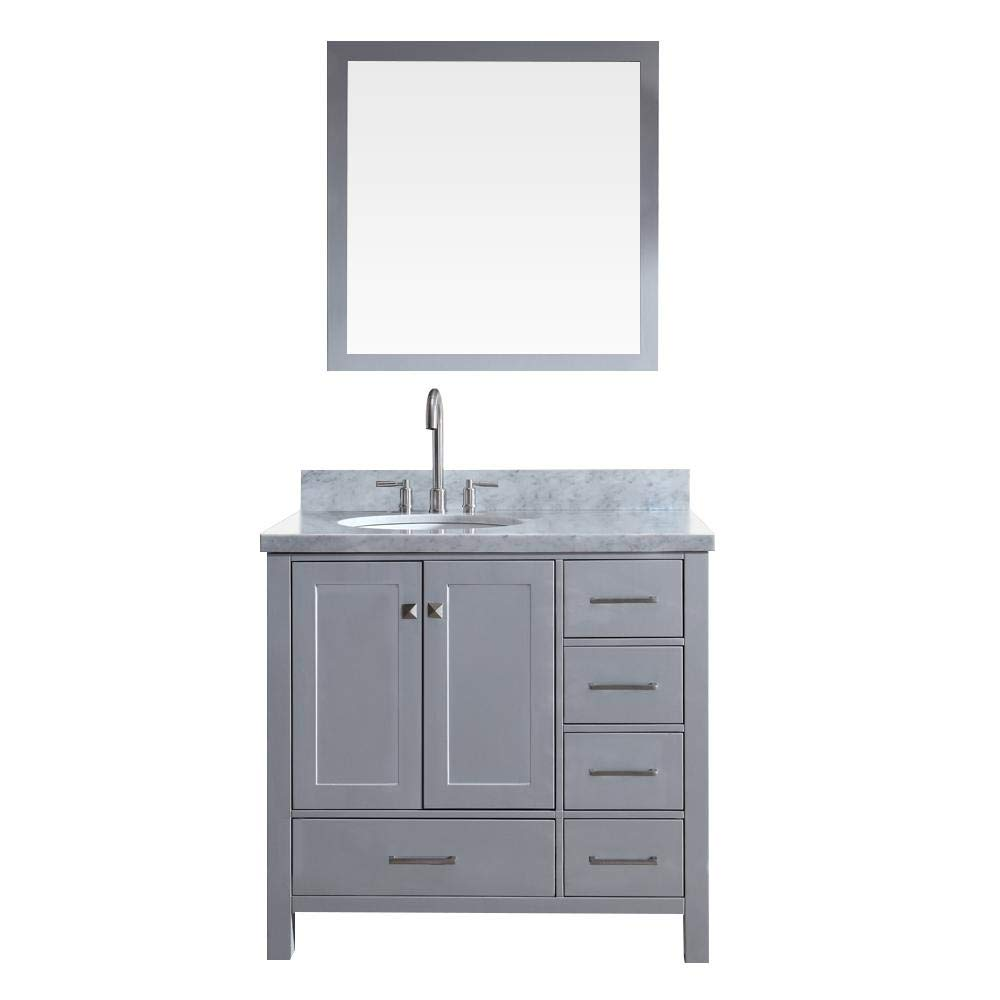 ARIEL Cambridge A037S-L-GRY 37 Inch Single Left Offset Oval Sink Solid Wood Grey Bathroom Vanity Set with Mirror and 1.5 Inch Edge White Carrara Marble Countertop
