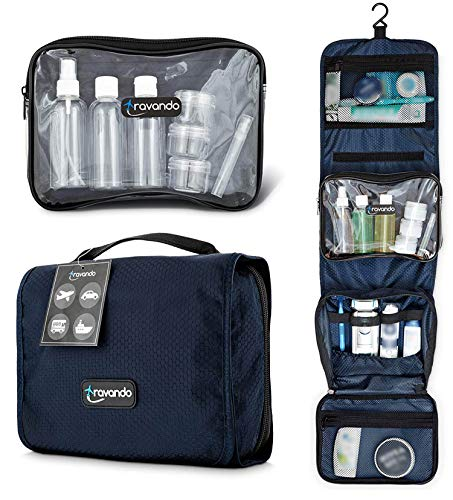 TRAVANDO Hanging Toiletry Bag FLEXI 7 TSA Approved Liquid Bottles – Travel Set for Men and Women – Toilet Kit for Cosmetics, Makeup – Organiser for Suitcase – Wash Bag with Containers