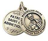 Silver Toned Base Patron of Addictions Saint Maximilian Kolbe Medal, 3/4 Inch