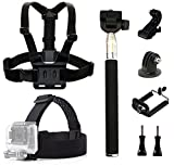 dOvOb Action Camera Accessories Kit included Head Strap Mount+ Chest Belt Strap Harness+ Selfie Stick Handheld Monopod for GoPro Hero 6/ APEMAN / AKASO / DBPOWER / Campark / EKEN / Lightdow /Xiao Yi