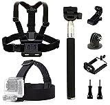 dOvOb Action Camera Accessories Kit Included Head Strap Mount+ Chest Belt Strap Harness+ Selfie Stick Handheld Monopod GoPro Hero 6/ APEMAN/AKASO / DBPOWER/Campark / EKEN/Lightdow /Xiao Yi