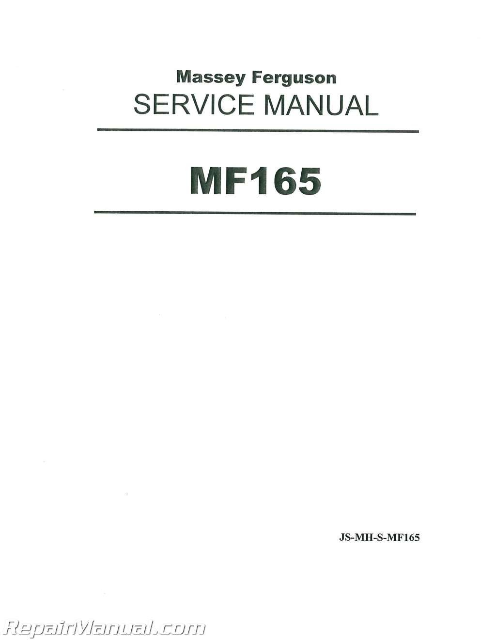 JS-MH-S-MF165 Massey Ferguson MF150 MF165 MF175 MF180 Service Manual:  Manufacturer: Amazon.com: Books