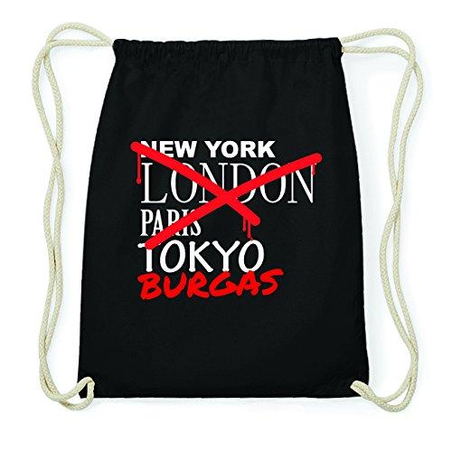 JOllify BURGAS Hipster Turnbeutel Tasche Rucksack aus Baumwolle - Farbe: schwarz Design: Grafitti