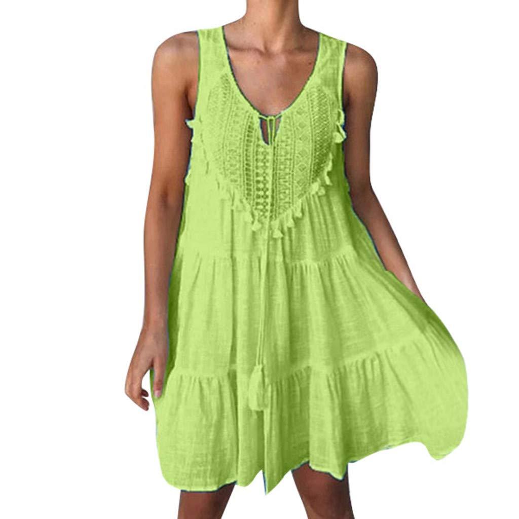 Sttech1 Women Summer Swing Dress Bohemia Pleated Sleeveless Flared Casual Mini Dress Green