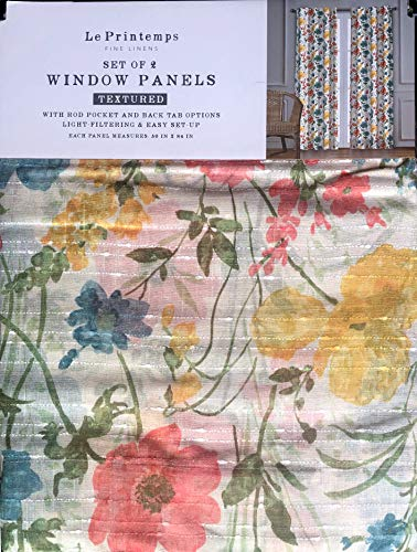 Le Printemps Window Curtains Floral Blooms Pattern in Shades of Green, Red, Blue, White and Yellow on Tan/Ecru, Panels Drapery, 50 Inches by 84 Inches