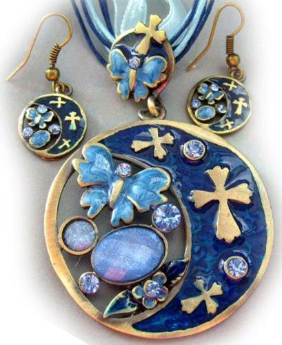 DoComer(TM) Copper Coated Acrylic Diamond Flower Butterfly Cross Pendant Necklace Earrings (Necklace Dia Cross)