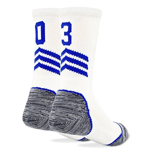 (Number Crew Socks,Funcat School Children Boys Girls Kids Dri Fit Cushioned Performance Soccer Football Crew ID Socks 1 Pair,White\/Blue 03 Or 30 Team Number Football Socks,S Youth Child Shoe Size 2-6)