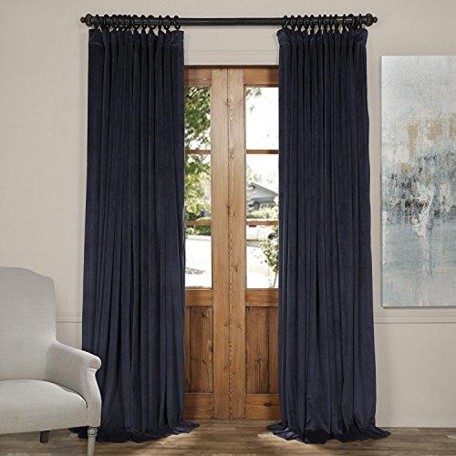 HPD HALF PRICE DRAPES Half Price Drapes VPCH-VET1215-120 Signature Doublewide Blackout Velvet Curtain, Midnight Blue, 100 X 120 (Wide Velvet)