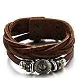 AT-LEATHER Oxhide Cow Leather Bracelets Layers Knitted Rope Round Charm Cowhide Bracelet Bangle BRC636