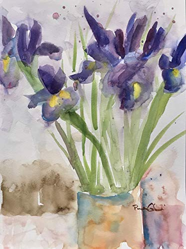 African Violet Flowering (Purple Irises #2, 8x10 inches, Original Watercolor Painting, Not a Print.)