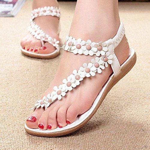 Koly Women's Fashion Sweet Summer Bohemia Beaded Sandals Clip Toe Sandals Beach Shoes White 4njNGl