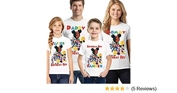 Mickey Mouse Clubhouse Birthday Shirt Add Name And Age Mickey Clubhouse Family Birthday Shirts Tops Tees