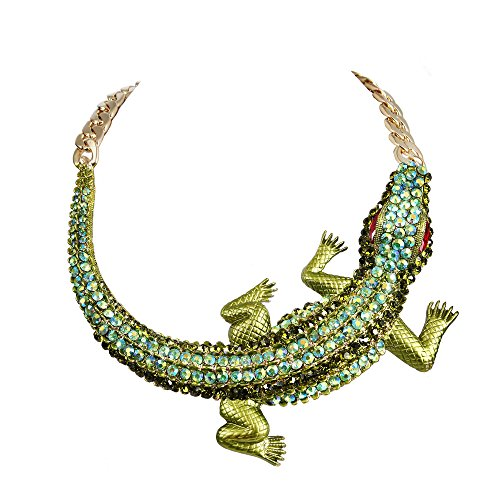 BriLove Women's Gothic Stylish Crystal Crocodile Statement Necklace Green Gold-Tone (Bib Drop Necklace)