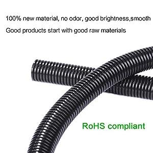 Alex Tech 25ft – 1/2 inch Split Wire Loom Tubing Wire Conduit – Black