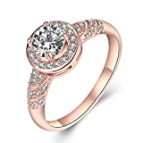Black Friday Deals Womens Jewelry 18k Rose Gold Plated Vintage Wedding Engagement Jewelry Ring