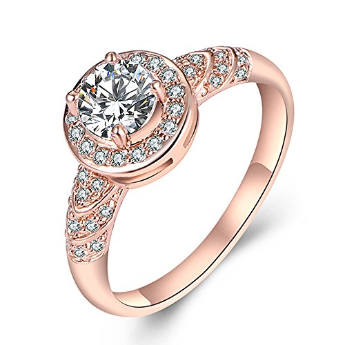 JUST N1 Womens Jewelry 18k Rose Gold Plated Vintage Wedding Engagement Jewelry Ring Christmas Gift