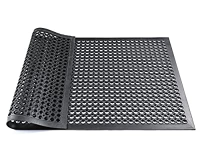 Hefty Mat Anti-fatigue RubberMatting for wet rooms,Workbenches,Garage,Workshop and other Wet area, Black,3 feet ×5 feet ×1/2 inch