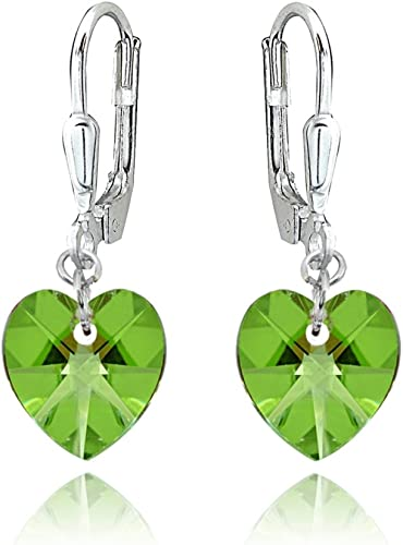 Sterling Silver Dangle Crystal Heart Earrings Made With Swarovski Elements