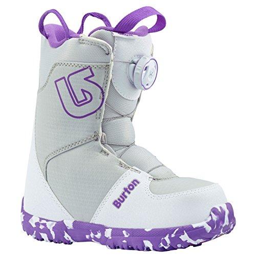 Burton Boy's Grom Boa '18 (Little Kid) White/Purple 1 M US Little (Burton Grom Snowboard Boots)
