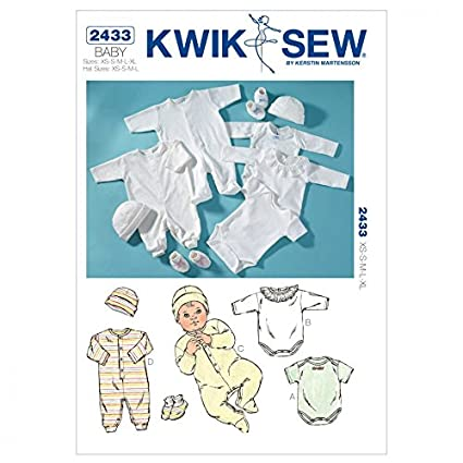 Kwik Sew MCCALL s Patterns bebé patrón de Costura 2433 Pelele, Mono, Gorro
