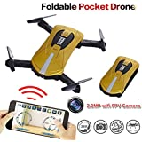 Jaanly Foldable RC RTF Quadcopter 2.4Ghz 6-Axis Gyro Drone 4CH UAV R/C Aircraft Air Pressure Altitude Hold Helicopter 360 Degree Airselfie with 2MP HD Camera 720P Live Video Real Time FPV