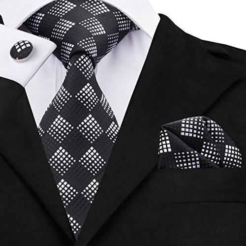 Hi-Tie Design Black Tie Handkerchief Cufflinks set Woven Silk Necktie for Men Neck Tie Design