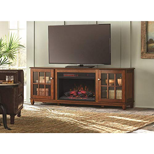 Cheap dealmor Westcliff 66 in. Lowboy TV Stand Electric Fireplace in Chestnut Black Friday & Cyber Monday 2019