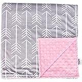 """Towin Baby Arrow Minky Double Layer Receiving Blanket, Pink 29""""x29"""" …"""