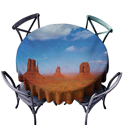 Spill-Proof Table Cover,Western,Monument Valley in Wild West Historical American Lands and Sky Photo Deco,Modern Minimalist,55 INCH,Burnt Orange -