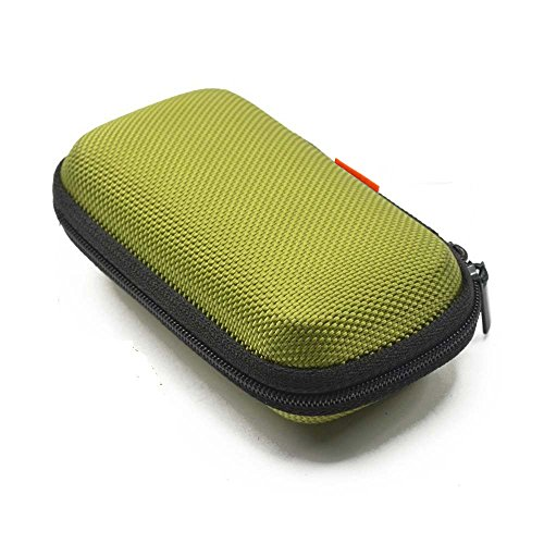 GLCON Rectangle Shaped Portable Protection Hard EVA Case,Mesh Inner Pocket,Zipper Enclosure Durable Exterior,Lightweight Universal Carrying Bag Wired/Bluetooth Headset Charger Change Purse,Green