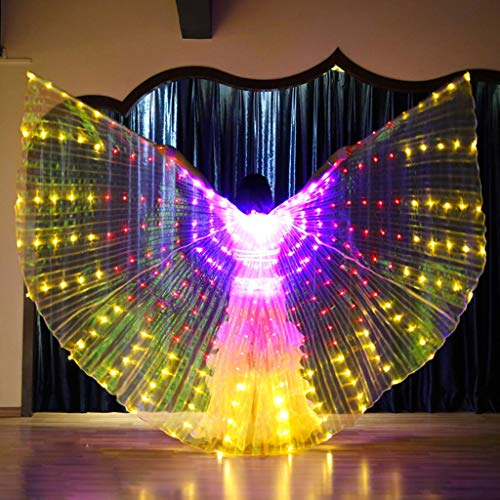 CapsA Girls LED Butterfly Wings Belly Dance Costumes Glowing Performance Clothing with Telescopic Stick for Carnival, Stage, Halloween Christmas Party -