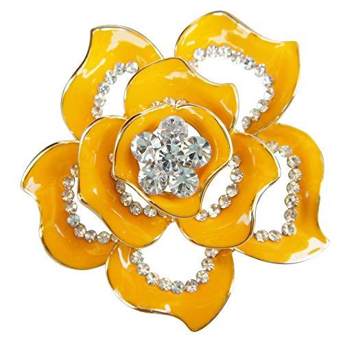 (Navachi 19k Gold Plated Crystal Yellow Enamel Rose Flower Az7432b Brooch pins)