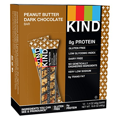 KIND Bars, Peanut Butter Dark Chocolate, 8g Protein, Gluten Free, 1.4 Ounce Bars, 12 Count