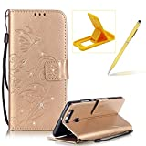 Wallet Case for Huawei P9,Strap Portable Leather Case For Huawei P9,Herzzer Stylish Bling Diamonds Gold Butterfly Embossed Pu Leather Purse Pouch Magnetic Closure Flip Folio Protective Case