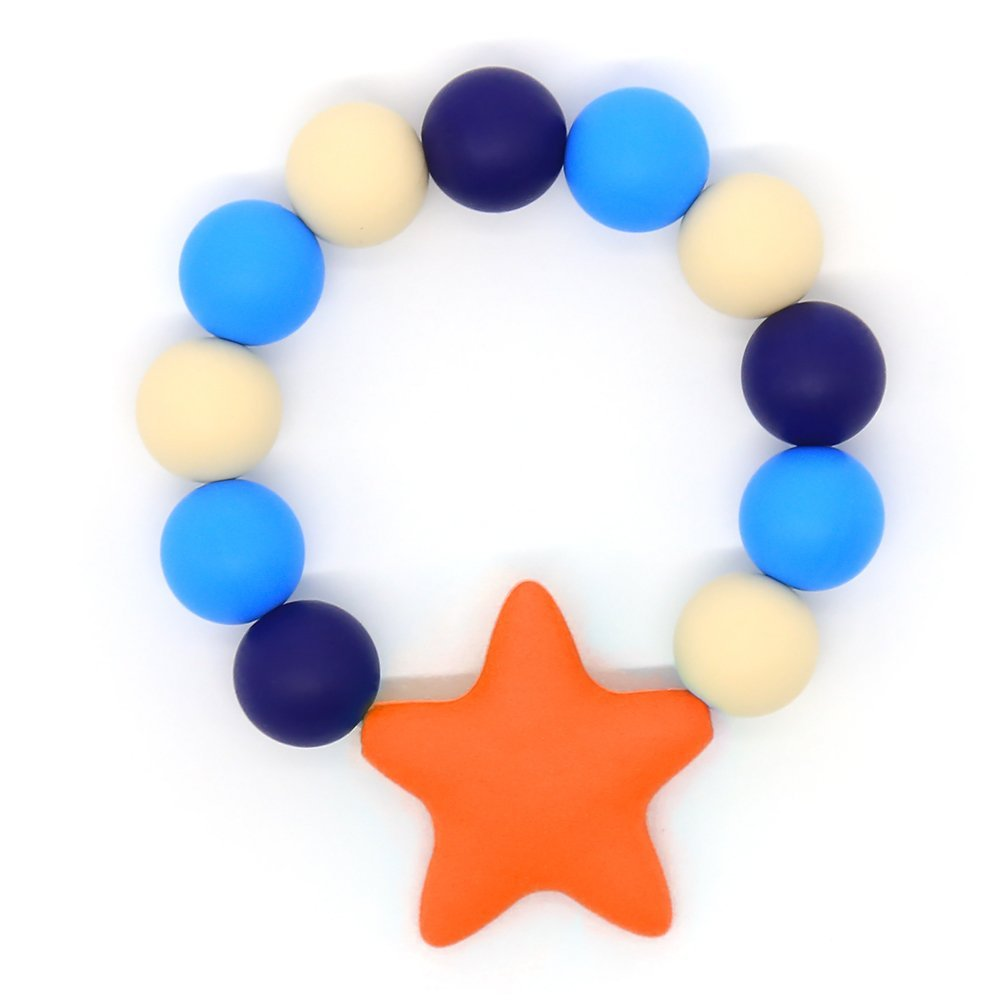 Orange Baby Teether Ring Bracelet Silicone Teething Ring Food-Grade Baby toys BPA-Free