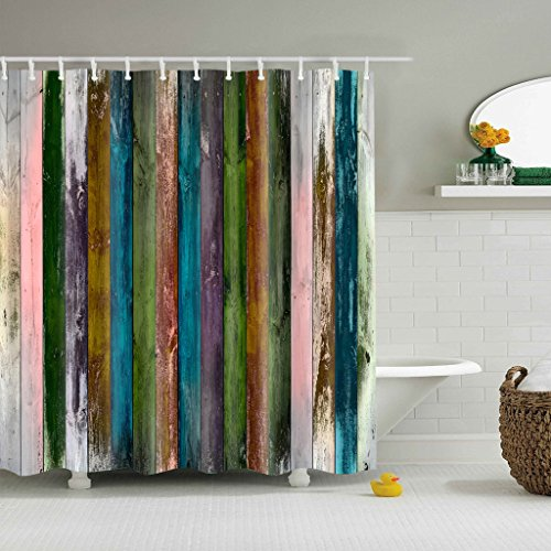 y Barn Doors Old Wood Distressed Boards Fabric Bath Shower Curtain (Retail Curved Shower Rod)