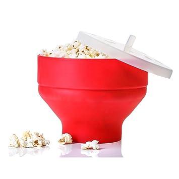 SZTARA funcional palomitas cubo con tapa para el microondas DIY silicona plegable Pop Corn comida: Amazon.es: Hogar