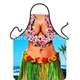 Hot Hawaii Girl Big-breasted Apron Funny Bib for Home Kitchen BBQ Novelty Gifts