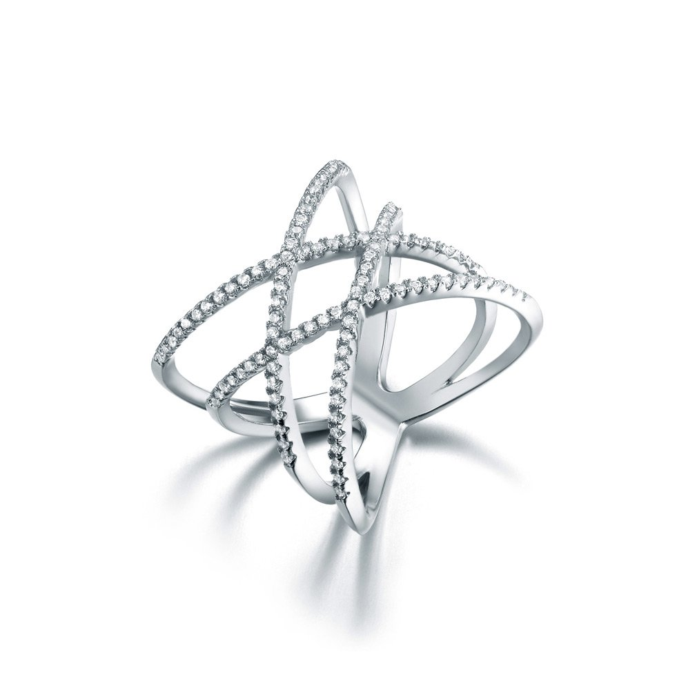 SHINCO Double Cross CZ Paved 18k White Gold Plated Trendy Party Rings Wide Band for Women Girls, Size 8 by SHINCO