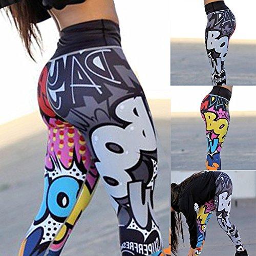 OKANEISAN Women Yoga Workout Leggings Fitness Pants Printed by OKANEISAN