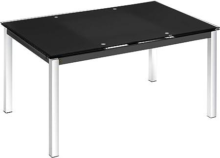 Mesa extensible cristal color negro y pata cromada comedor salon ...