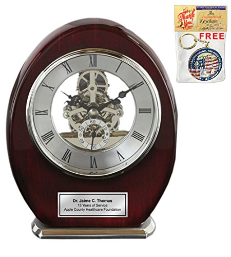 - AllGiftFrames Engraved Oval Beacon Desk Table Clock Wood Silver Davinci Clock Anniversary Wedding Retirement Service Award Recognition Birthday Gifts
