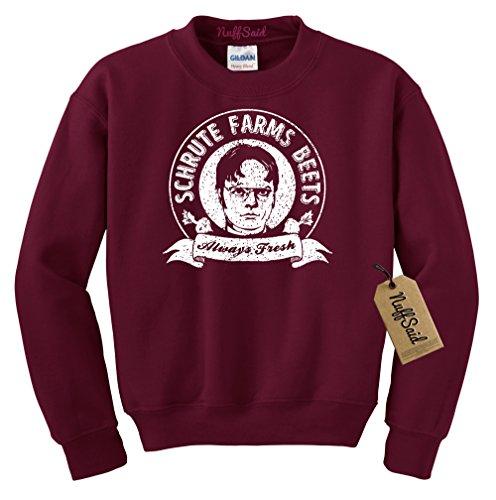 NuffSaid Schrute Farms Beets Always Fresh Crewneck Sweatshirt Sweater Pullover - Unisex Crew (Medium, Maroon)