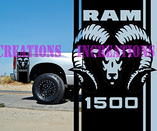 Hemi Dodge Ram 1500 Bed Stripes Truck Decals Mopar Stickers Set of 2 Racing (Black)