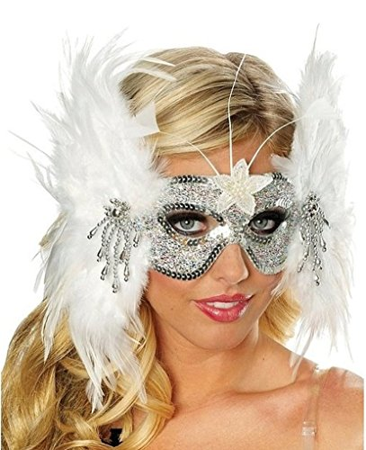 Snowflake Feather Mask in White