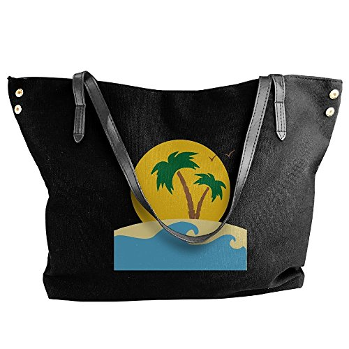 Large Capacity Canvas Handbag Tote Palm And Trees Black Waves Shoulder Women's Large Bags S6Tw55q