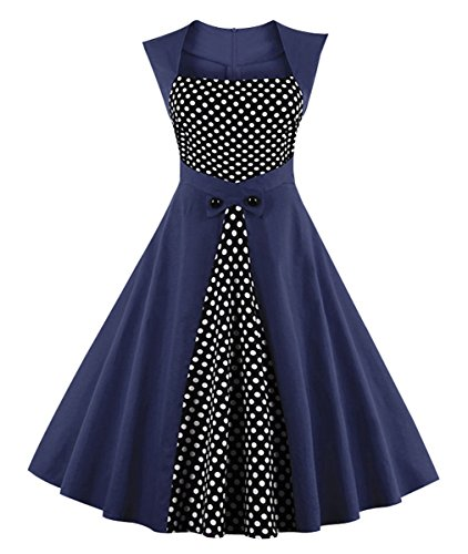 Killreal Women's Sexy A-Line Rockabilly Business Casual Dress with Polka Dot Patchwork Blue -