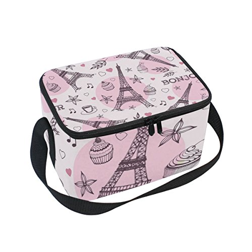 Sunlome Pink Paris Eiffel Tower Music Note Insulated Lunch Bag Lunch Box Cooler Tote Bag for Men Women Kids